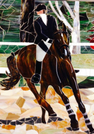 Horse & Rider Mural in Fused and Mosaic Glass