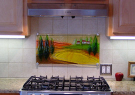 Fused Glass Tuscany Scene
