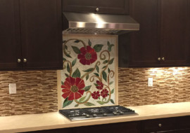 Large Red Floral Mosaic Mural