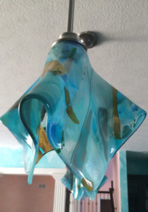 Shades of Blue Abstract Glass Pendant Light