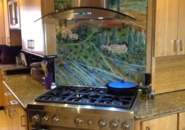 Glass Tuscan Mural for Kitchen