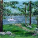 Backlit Lake Scene Glass Mural