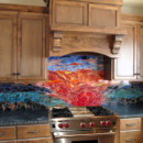 Glass Mosaic Sunset Mural
