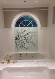 Dogwood Tile Mural in Glass