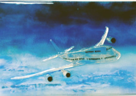 Fused Glass Mural with Airplane