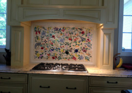 Glass Mosaic Floral Mural
