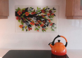 Orange Dogwood Kitchen Backsplash Mural