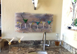 Martini Fest Fused Glass Panel