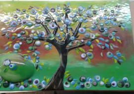 Funky Tree Man Glass Mural