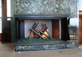 Glass Bamboo Fireplace Surround