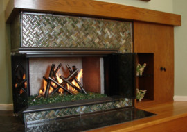 Glass Bamboo Fireplace Surround