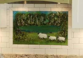 Kitchen Backsplash – Pond & Sheep