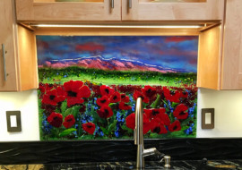 New Mexico Sunset and Poppies Glass Mural