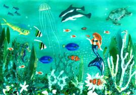 Underwater Scene with Mermaid