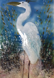 Glass Mural Featuring Egret