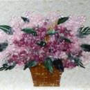 Glass Backsplash – Pink Hydrangeas