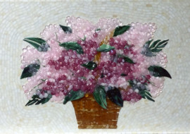 Glass Backsplash – Pink Hydrangeas