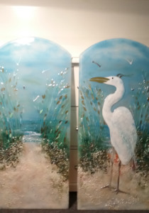 Egret and Path to the Beach Glass Murals