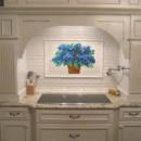 Blue Hydrangea Kitchen Backsplash