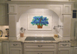 Blue Hydrangea Kitchen Backsplash