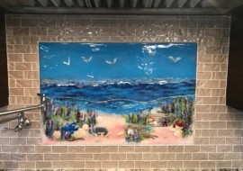 Beach Scene Glass Mural