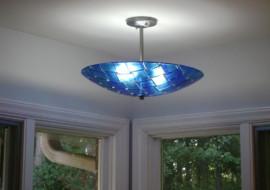 Blue/Lavender Fused Glass Chandelier