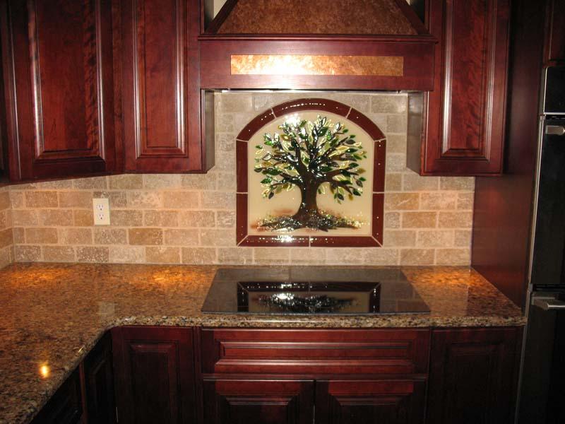 tree  life kitchen backsplash  fused glass designer glass mosaics