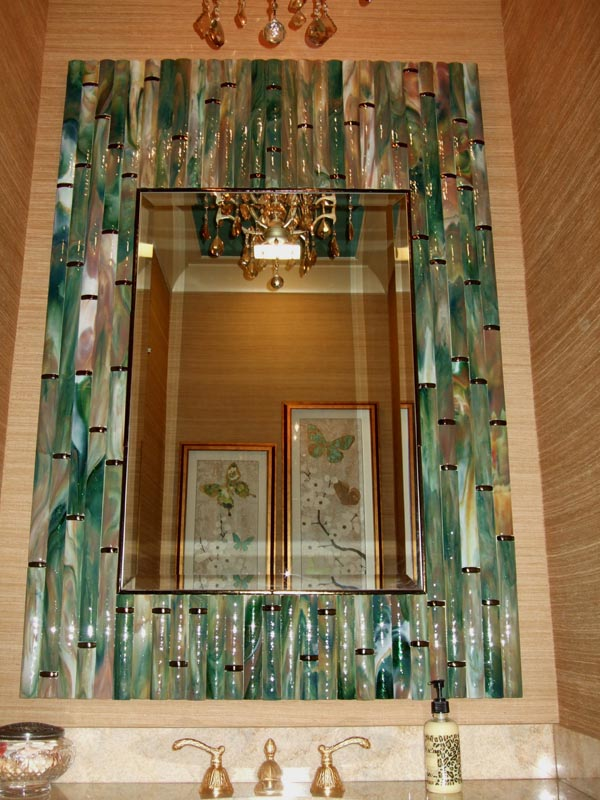 Bamboo Mirror in Hand-made Fused Glass Tiles | Designer Glass Mosaics