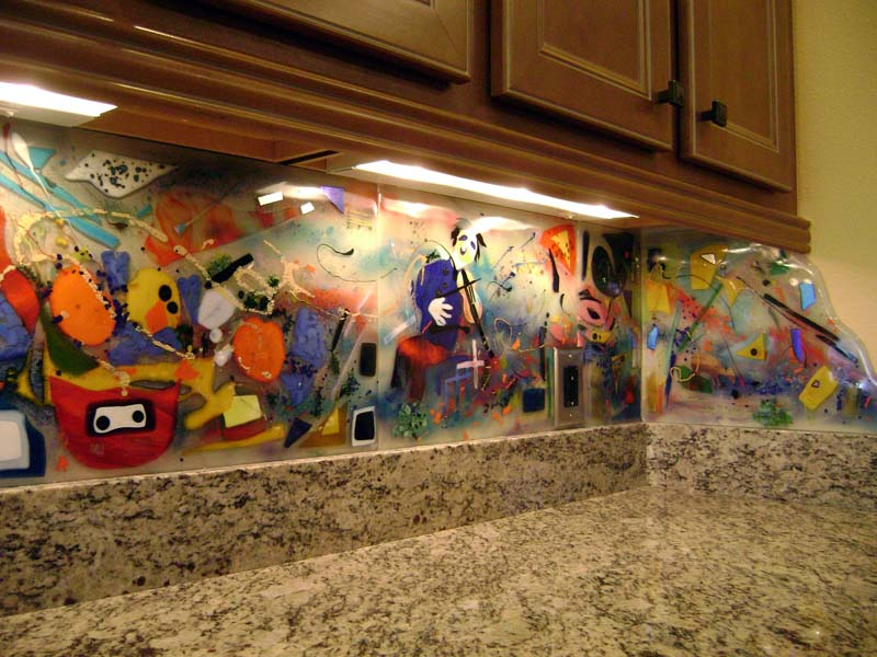 Contemporary Fused Glass Kitchen Art Designer Glass Mosaics
