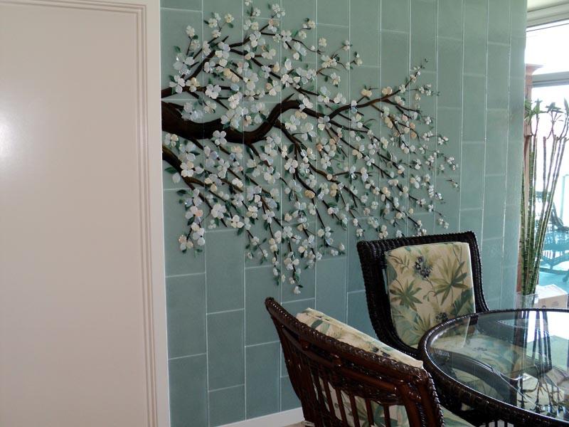 Dogwood Mural Designer Glass Mosaics
