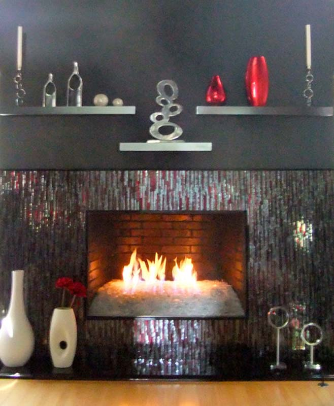 """Mosaic Fireplace Surround in Red & Silver """"Bamboo"""