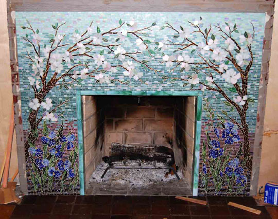 Mosaic Fireplace Surround Dogwood And Irises Designer Glass Mosaics Designer Glass Mosaics