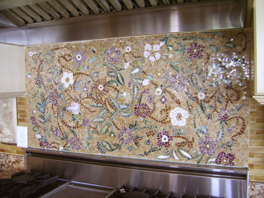 Mosaic floral backsplash designer glass mosaics - Mosaic designs for kitchen backsplash ...