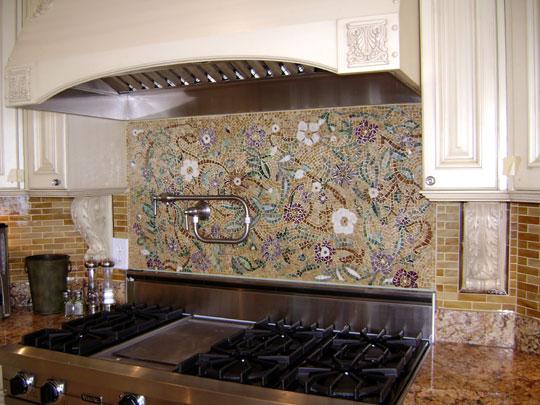 Mosaic Floral Backsplash Designer Glass Mosaics