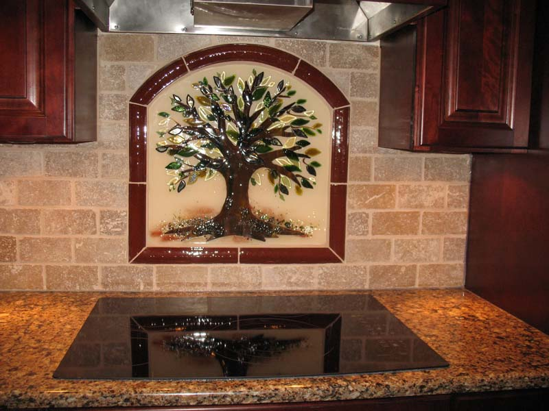 backsplash in fused glass designer glass mosaics designer glass