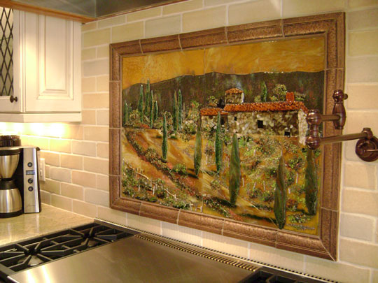 tile scenes kitchen fused glass kitchen backsplash in tuscany theme designer 2773