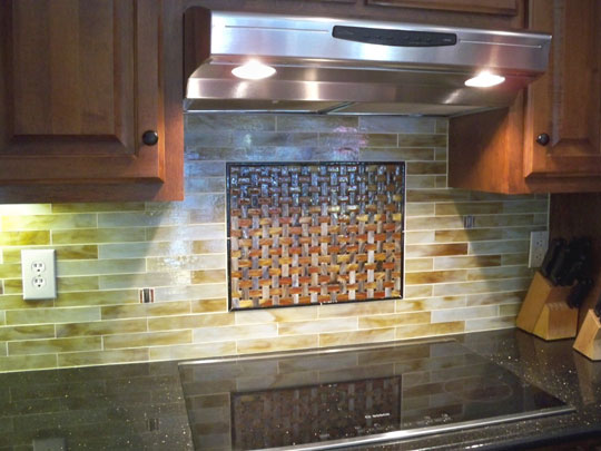 Stained Glass Mosaic Tile Kitchen Backsplash with Fused ...