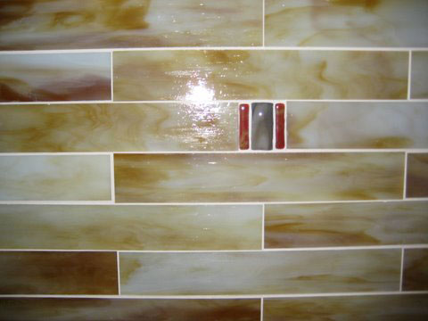 stained glass mosaic tile kitchen backsplash with fused glass