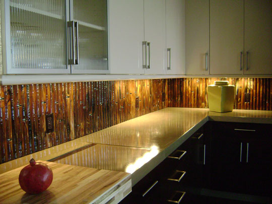 Ids showhouse designer glass mosaics Bamboo backsplash