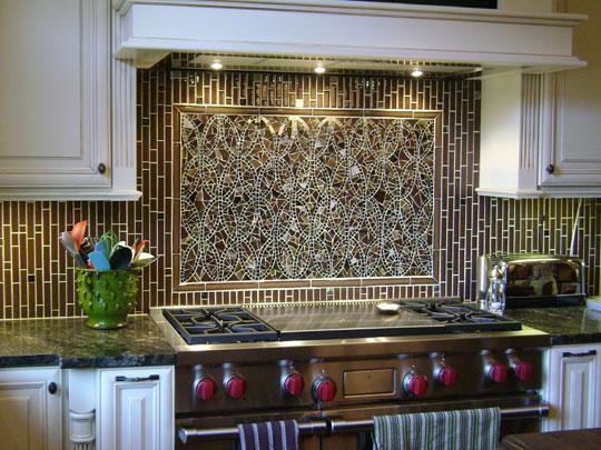 Interlocking ellipses mosaic designer glass mosaics - Mirror mosaic tile backsplash ...