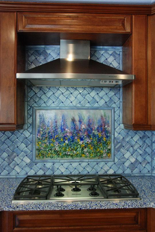 Quot Monet Quot Art Work With Basketweave Backsplash Designer