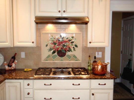 Fused Glass Basket Of Hydrangeas For Kitchen Backsplash