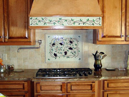 mosaic kitchen backsplash artwork grapes vines designer glass