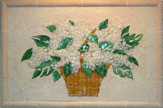 Fused And Mosaics Glass Tile Basket Of Hydrangeas Kitchen Backsplash