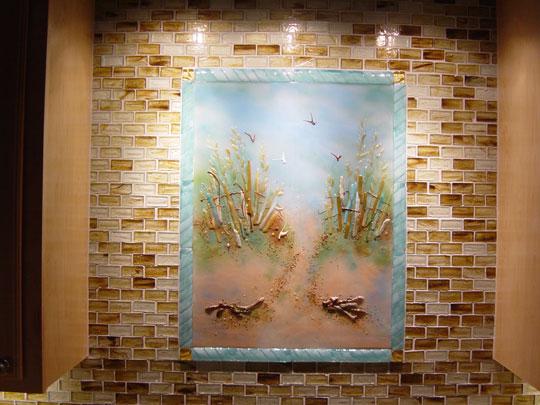 Beach Theme Kitchen Backsplash Designer Glass Mosaics