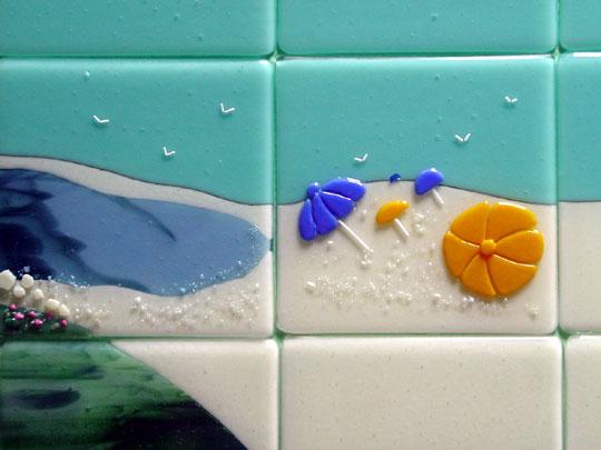 Beach Themed Fused Glass Tiles Nantucket Designer