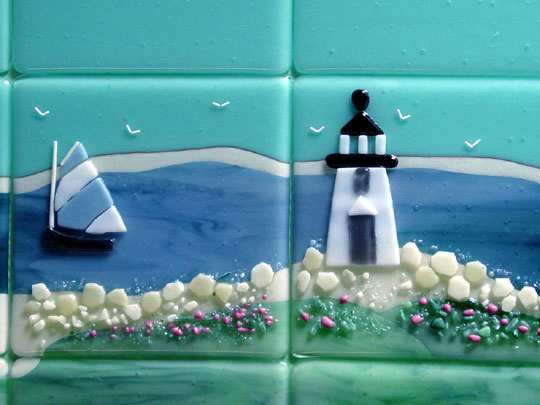 Beach Themed Fused Glass Tiles Nantucket Designer