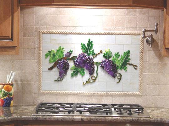 Fused Glass Kitchen Backsplash With Grapes Vines