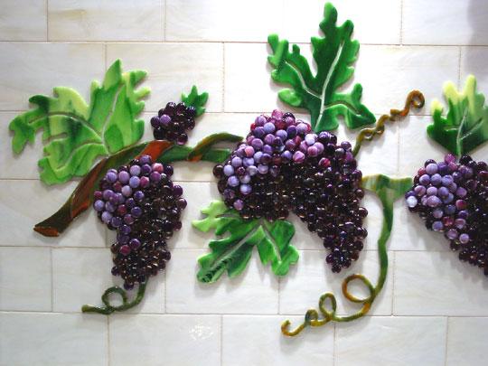 Fused Glass Kitchen Backsplash With Grapes Amp Vines