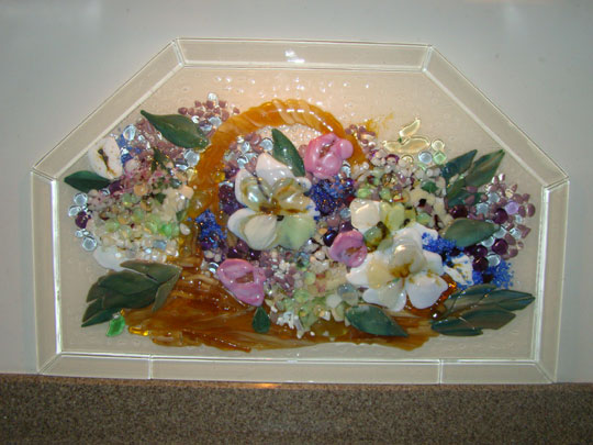 Fused Glass Kitchen Backsplash Basket Of Flowers Designer Glass Mosaics